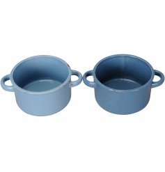A mix of 2 shabby chic and unique cooking pot planters in stylish blue and navy colours.