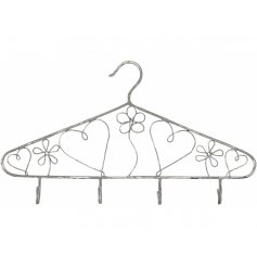 A shabby chic inspired grey heart and floral design coat hanger with hooks.