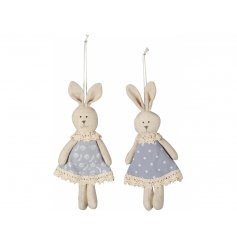 An assortment of 2 charming bunny hangers in floral and polka dot dresses.