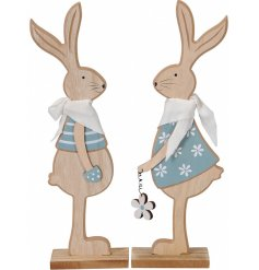 A mix of 2 adorable wooden bunny decorations with cute Spring details including a polkadot pocket and flower.