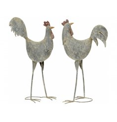 A mix of 2 rustic metal chicken figures with a hammered, finish. A chic country living item for the home.
