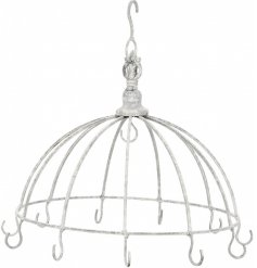 A shabby chic hanging umbrella display unit with 12 hooks.