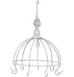 Perfect for displaying any small hanging decorations or jewellery, this distressed white hook unit will be perfect for a