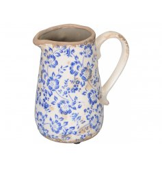 A beautiful blue floral jug with a nod towards French country design. A shabby chic homeware item with plenty of charm.