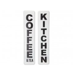 An assortment of 2 bold Coffee and Kitchen signs with a retro aesthetic. A kitchen accessory complimenting many interior