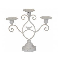 Inspired by French country living this ornate candelabra has a shabby chic finish and cute bird figure.