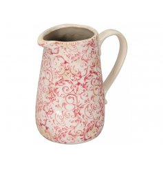 A vintage inspired pink floral jug with a shabby chic finish and plenty of rustic charm!