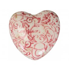 A vintage inspired decorative heart with a pretty floral design and shabby chic finish.