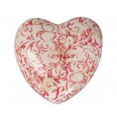 A vintage inspired floral heart decoration with a shabby chic finish. A charming accessory for the home and garden.