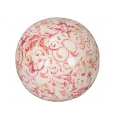 A vintage inspired decorative sphere with a pretty and pink floral design. Complete with a shabby chic finish.