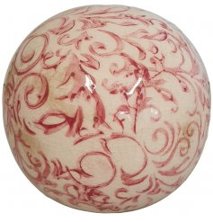 A chic decorative sphere with a pretty floral design. Inspired by rustic French country design with a shabby chic finish