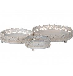 A set of 3 shabby chic trays with a pretty lace design. Each is perfect for displaying decorations, flowers and candles.