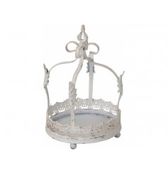 A shabby chic decorative crown with floral features. Ideal for displaying items such as candles, flowers and plants.