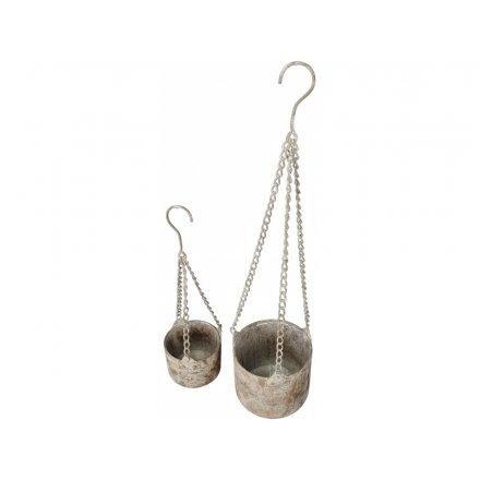 14.5 cm Rustic Hanging Basket, Set of 2