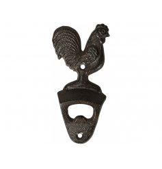 A rustic living cast iron cockerel design bottle opener.