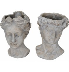 A mix of 2 antique inspired bust planters creating a unique garden and interior accessory.