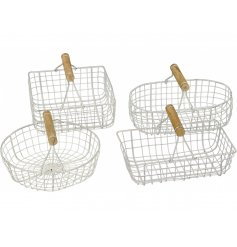An assortment of 4 rustic metal baskets with wooden carry handles.