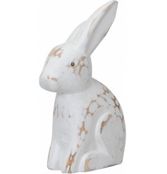 A shabby chic wooden bunny decoration in white. Other sizes are also available.