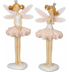 A mix of 2 pretty standing ballerina ornaments, complete with fairy wings and miniature silver crowns.