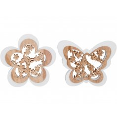 A mix of 2 pretty wooden butterfly and flower plaques with an intricate laser cut design.