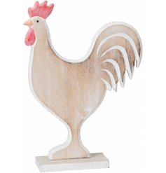 A colourful rustic rooster figure with a distressed finish. A chic country living item for the home.