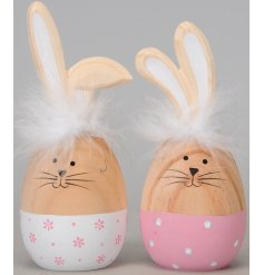 A mix of 2 cute and quirky egg shaped bunnies in flower and polka dot designs. Complete with feather collars