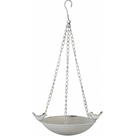 Hanging Bird Feeder, White 28.5 cm