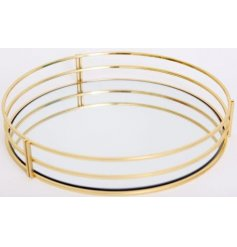 Luxe Gold Mirrored Tray   A sleek and stylish golden toned tray featuring a mirrored centre
