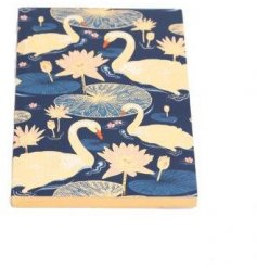A small sized notebook featuring a beautiful Japanese Swan inspired decal and delicate colour tones