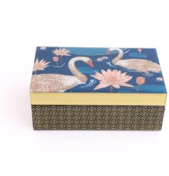 Japanese Swan Jewellery Box with luxurious black fabric interior, embellished with gold highlights.