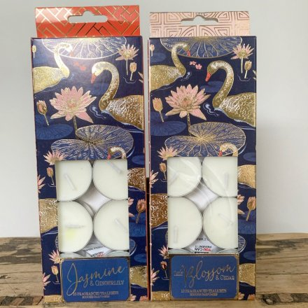 Japanese Swan Tealights in a choice of Jasmine & Gingerlily or Lily Blossom & Cedar