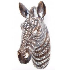 A large Decorative Zebra Bust featuring a distressed aztec pattern