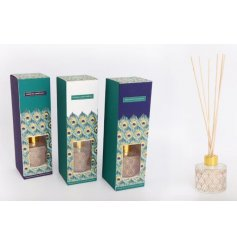 A mix of 3 peacock design reed diffusers, each with a wonderful fragrance and decorative glass bottle.
