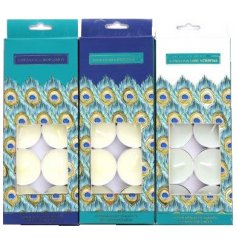 A pack of 10 scented t-light candles, beautifully packaged with a bold, jewel like peacock print.