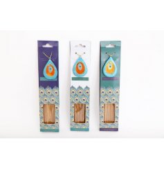 A pack of 40 beautifully scented incense sticks complete with a colourful jewelled stand and peacock packaging.