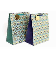 Gift in style with these on trend, jewel coloured Peacock gift bags complete with gold tags and matching handles.