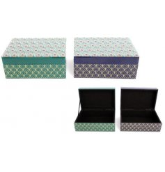 Richly coloured green and blue peacock feather design jewellery boxes with a mirrored lid.