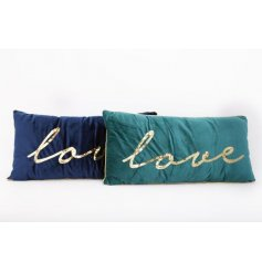 A mix of 2 plush jewel coloured cushions with gold sequin love slogans.