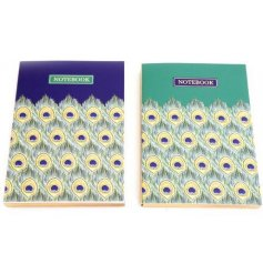 An assortment of 2 green and blue jewel coloured notebooks with an attractive peacock print.