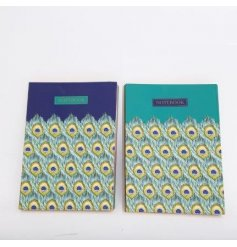 An assortment of 2 green and blue jewel coloured notebooks with a beautiful peacock feather pattern.