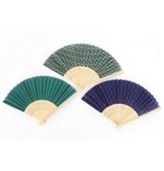 An assortment of 3 beautifully coloured decorative fans in rich green and blue jewel colours, including a peacock print