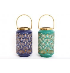 An assortment of 2 art deco inspired lanterns with a Peacock feather design and gold carry handle.