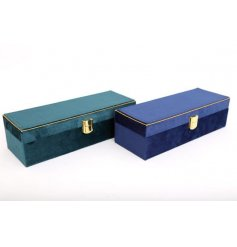 An assortment of 2 luxurious velvet jewellery boxes in rich jewel colours. Complete with gold clasps and trim.