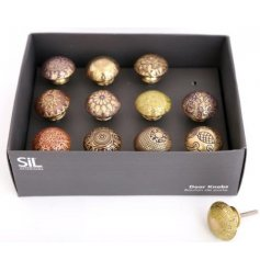 Bring the ethnic look into your home with these fabulous Brass Doorknobs, engraved with bright, contrasting colours.