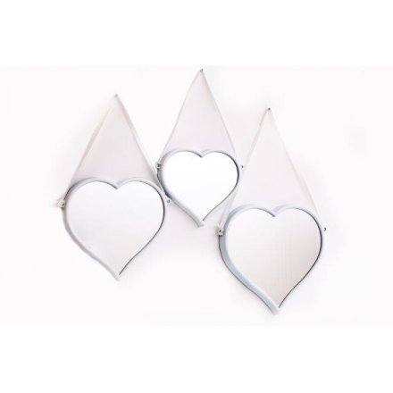 Hanging Heart Mirror Set - 20, 23 & 28 cm sizes