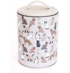 Compact lidded Storage Tin with cute Cat print.