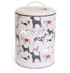 A secure lidded storage tin with classic dog print design