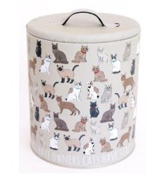 This capacious tin, with distinctive cat print, is a great way to store treats for humans or pets