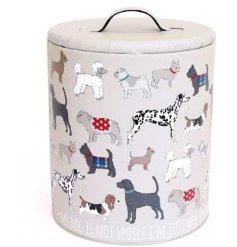 A classic storage tin with a lid, embellished with traditional dog print design