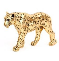 A stunning leopard decorative ornament with a textured surface and antique gold finish.